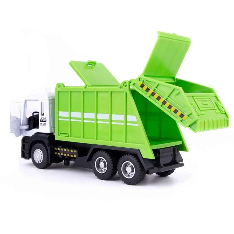 1:50 Paduan Model Mobil Diecast Membersihkan Kota Truk Sampah Suara dan Cahaya Menarik Kembali Fungsi Mainan Anak Hadiah untuk Anak-anak