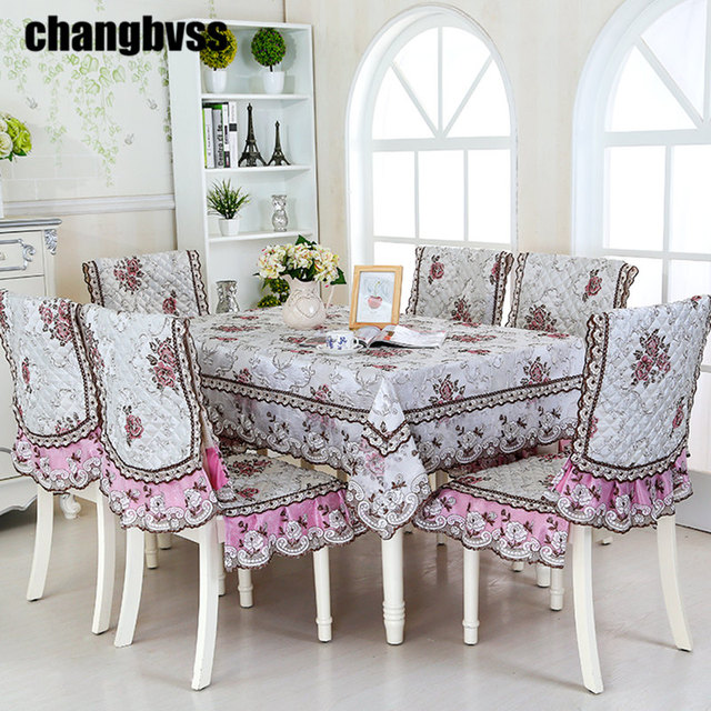 New Fashion Tablecloth Embroidery Designs Luxury Tafelkleed Table Cloth  Chair Cover Set Lace Tablecloth For Wedding
