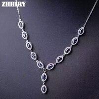 Природный Сапфир gemstone подвеска Цепочки и ожерелья Твердые стерлингового серебра 925 Женские Ювелирные изделия благородный камень