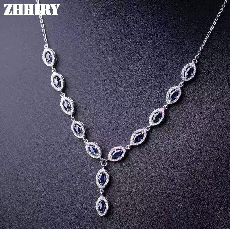 Natural Sapphire Gemstone Pendant Necklace Solid 925 Sterling Silver Woman Jewelry Noble Birthstone