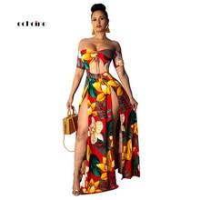 Echoine Women Sexy Dress Strapless Hollow Out Flower Print Short Sleeve Off Shoulder Backless High Split Fashion Long Vestidos