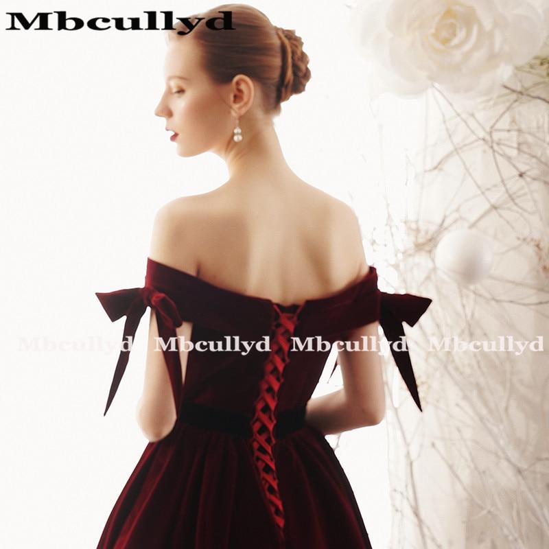 Mbcully Sexy Backless Burgundy Prom vestidos largo 2019 de hombro terciopelo negro chicas Formal noche fiesta vestidos vestido de gala - 5