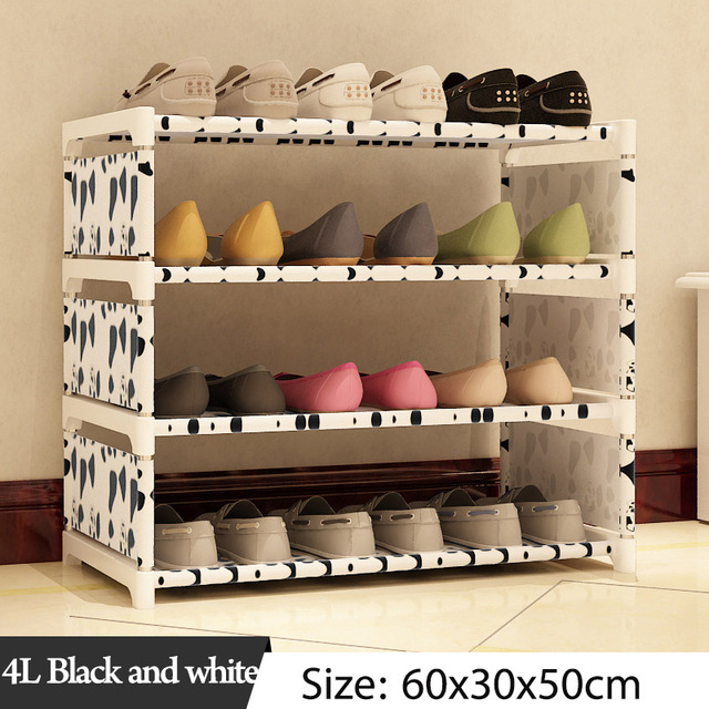 Multi Layer Shoe Rack Nonwovens Steel Pipe Easy to install home Shoe cabinet Shelf Storage Organizer Stand Holder Space Saving 4