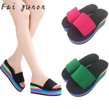 kai yunon Women Rainbow Summer Non-Slip Sandals Female Beach Slippers Sep 14