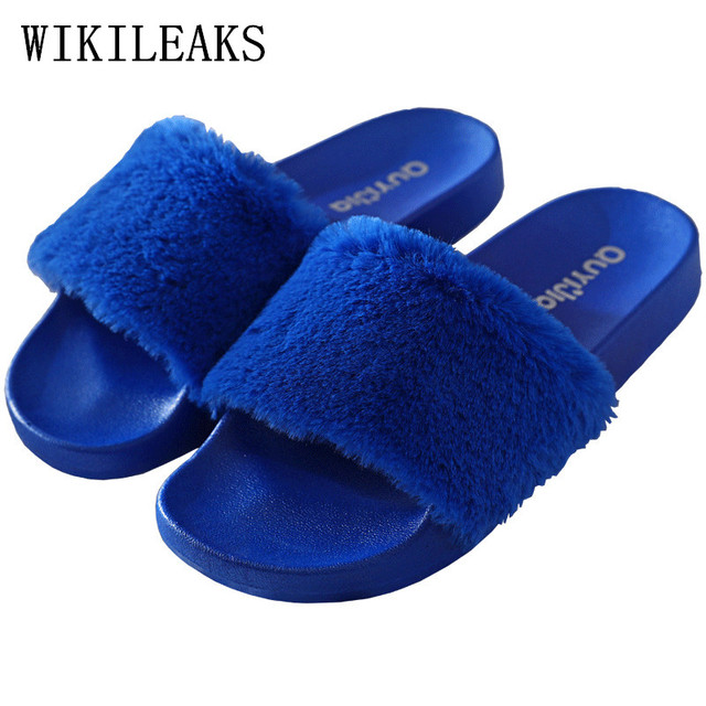 685b7fcf6 pink blue fur slippers women shoes pantufas de pelucia chinelo home slippers  designer fashion fur slides furry slippers pantufa