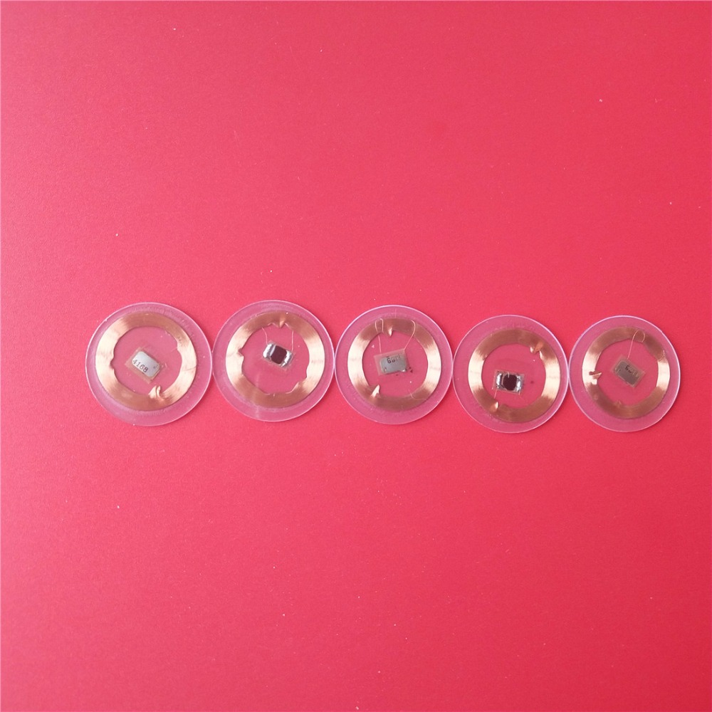 125Khz Rfid Tags EM4100 Chip+Coil ID Round Coin Card Read Only Diameter 25mm Transparent PVC