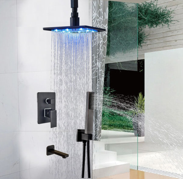 Widespread Ceiling Mounted 10-in Faucet Single Lever LED Color Shower Set Oil Rubbed Broze