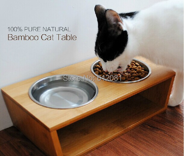 Genial Free Shipping Pet Cat Dog Puppy Dinner Table Natural Bamboo Wooden Feeding  Table Pet Food Table