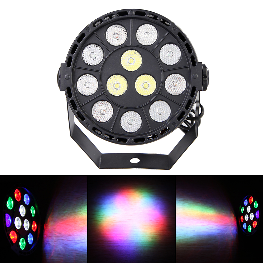 Professional LED Stage Lights 12 Led RGB PAR LED Stage Lighting Effect RGBW 4IN1 DMX 8CH Led Flat for DJ Disco Party KTV fast shipping super bright led par lights 24x10w rgbw quad color led stage effect lighting for wedding concert parties dj