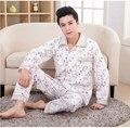 2016 Inverno Dos Homens Primavera Outono 100% Algodão Conjuntos de Pijama de Sleepshirt & Adulto Calças Casual Roupa & Homeclothes Plus Size 4XL