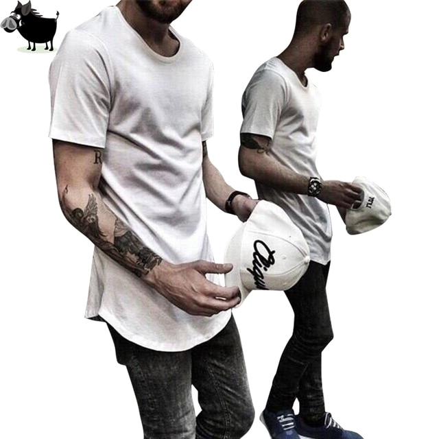 2017 Mens big tall Clothing designer citi trends Clothes Hip Hop T shirt homme Curved hem Tee plain Extended T shirt Kpop