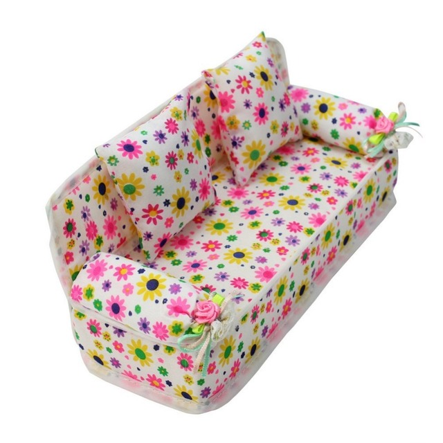barbie bean bag chair rifton shower lovely miniature furniture flower print sofa couch with 2 cushions for doll house toys hot selling