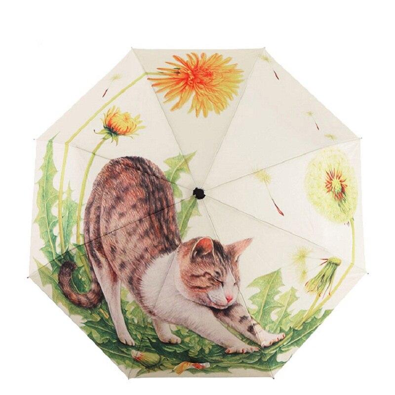 Tianqi Новый Arraival Книги по искусству маслом Зонт Три раза Paraguas Для женщин зонтик наружное Водонепроницаемый дождь Зонты милый кот