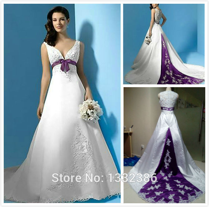 HotNew 2015 Stunning White And Purple Wedding Dress Embroidery Satin Robe De Mariage With Bow Front