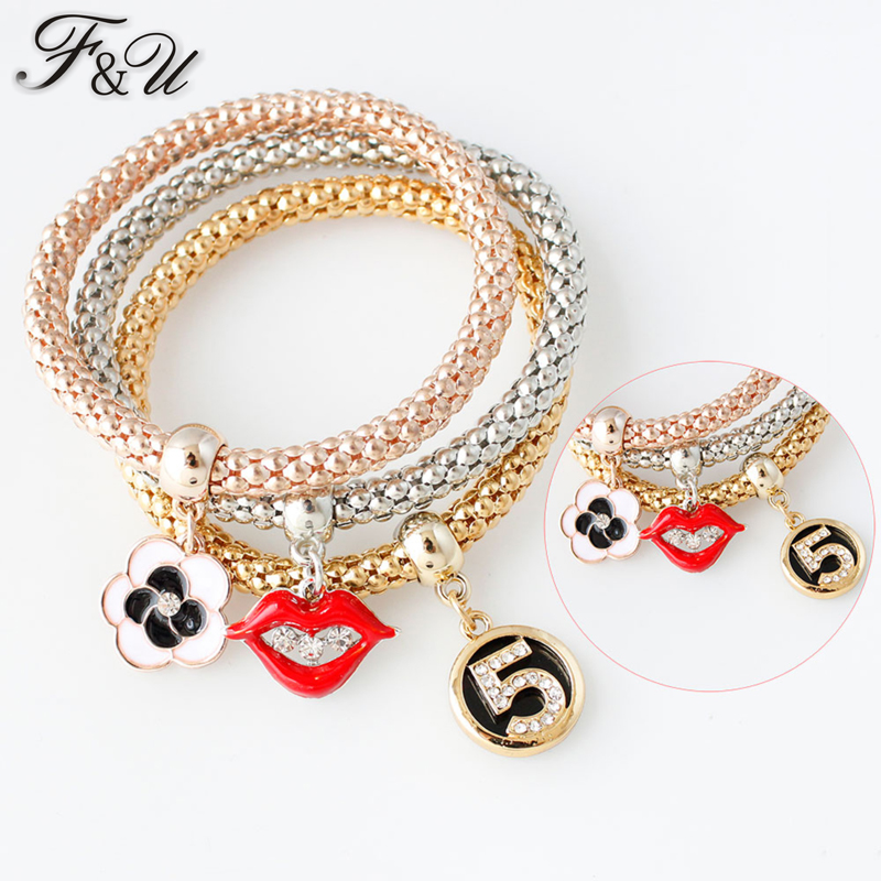 FU 3Pcs/set Multilayer Bracelets Lips Charm Bracelets / Valentine's Day Gifts