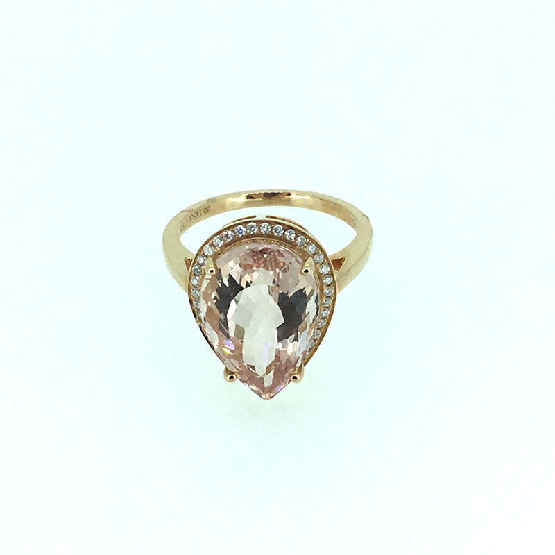 ANI 18K Rose Gold (AU750) Women Wedding Ring Certified I/SI 5.988 ct Pear Cut Morganite Halo Diamond Ring for Women Enagement new pure au750 rose gold love ring lucky cute letter ring 1 13 1 23g hot sale