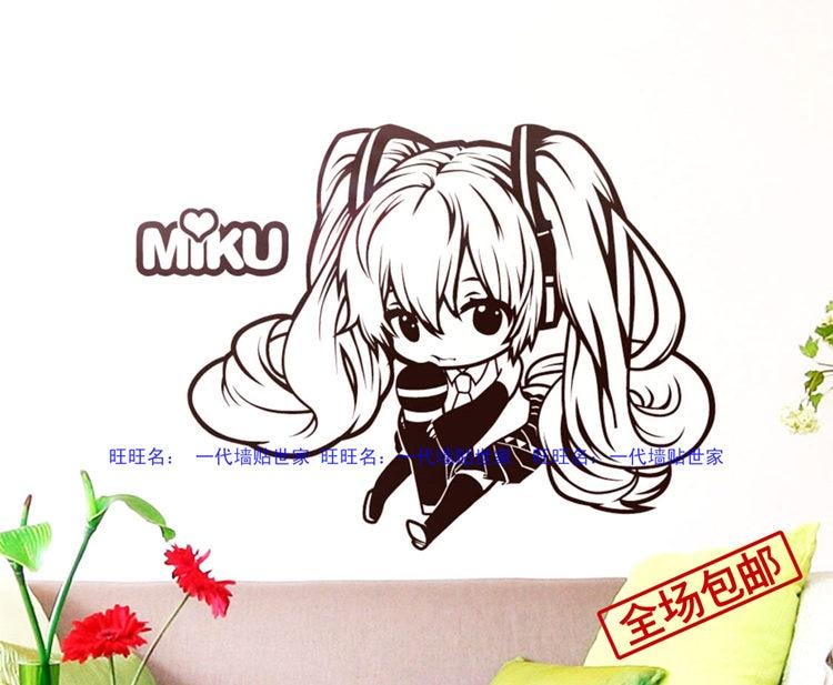 dc0b65ed4 لطيف اليابانية منتديات miku هاتسون ميكو عنبر نوم ملصقات الحائط الكرتون غرفة  نوم ملصقات الحائط