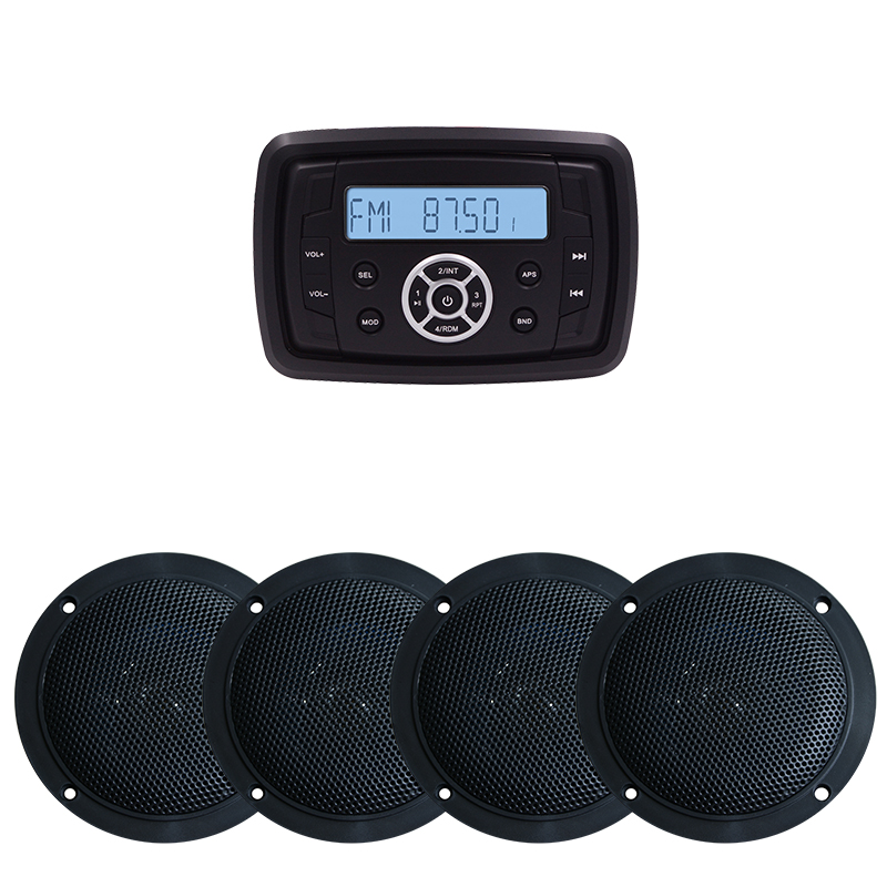 Waterproof Marine Stereo Audio Radio FM AM Receiver Boat Bluetooth Motorcycle Player MP3 Sound System UTV ATV 2Pairs 4 Speakers tivdio v 116 fm mw sw dsp shortwave transistor radio receiver multiband mp3 player sleep timer alarm clock f9206a