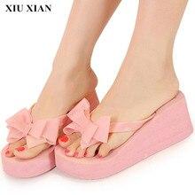 Korean Style Open Toe High Heel Women Slippers Bow Black Flip Flops Butterfly Platform Shoe Ladies Single Summer Beach Shoe Pink