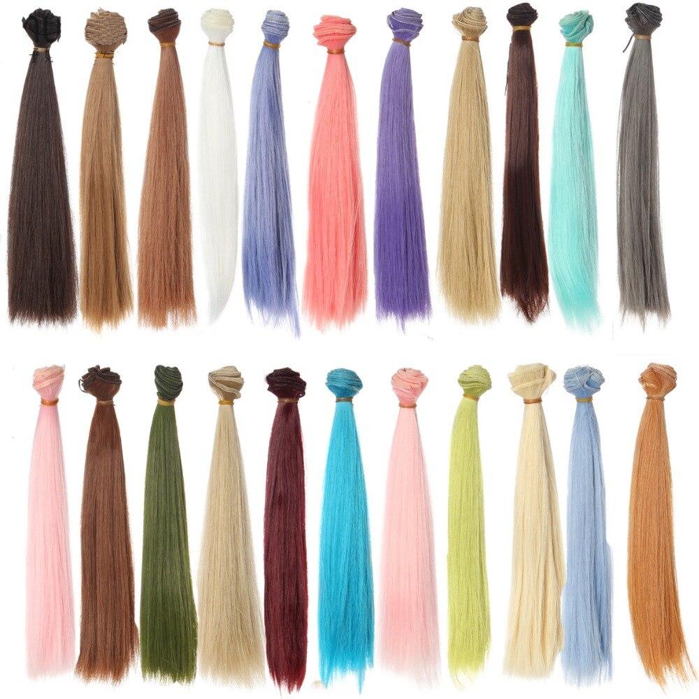 refires bjd hair 25cm*100CM black pink brown khaki white grey color long straight wig hair for 1/3 1/4 handmade fabric doll diy