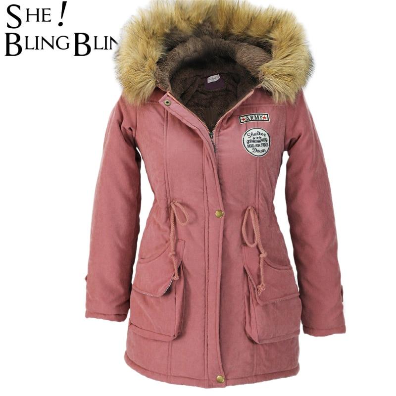 6cffeece977de Women Parkas Winter Jackets Coats Faux Fur Hooded Collar Casual Long ...