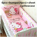 Promoção! 6 pcs olá Kitty baby girl crib set dos desenhos animados do bebê crib set, Incluem ( amortecedores + ficha + travesseiro cobrir )