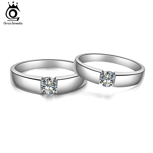 ORSA JEWELS 2018 Popular Silver Color Ring Model with Clear AAA Grade CZ Hot Sale Lead & Nickel Free Ring for Women and Men OR03