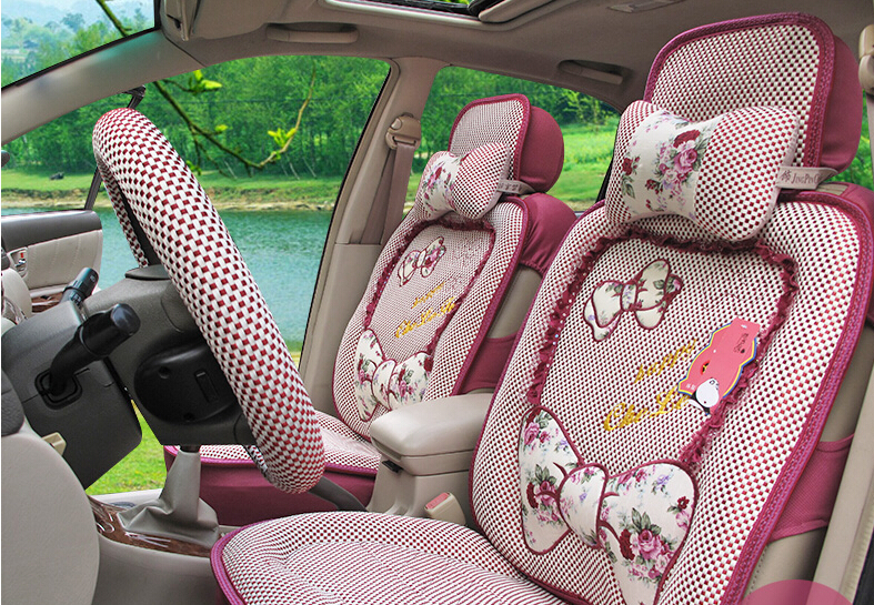 new summer cute cartoon car seat cover steering wheel sets of auto supplies car covers of the. Black Bedroom Furniture Sets. Home Design Ideas