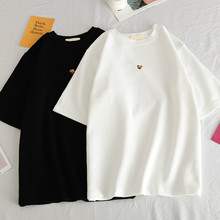 2019 Women Cec Japanese Leopard Heart Samll Graphic T Shirts Print Tumblr T Shirt Black Oversized Tshirt Ulzzang Harajuku Top
