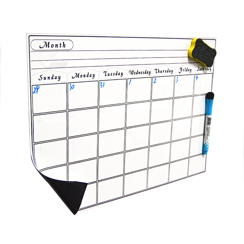 Magnetic Weekly Learning Plan Mobile Whiteboard Creative Writing Refrigerator Whiteboard Stickers Calendar Sticker A3 Size