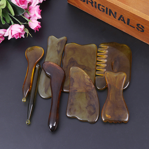 Image 2 - Natuurlijke Jade Guasha Schrapen Massage Schraper Gua Sha Boord Hars Acupunt Gezicht Eye Care Spa Massage Gezicht Massager Acupunctuur