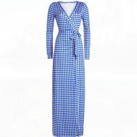 2017 Autumn Winter Ladies V Neck Long Sleeve Blue Plaid Maxi Wrap Dresses Women Long Beach