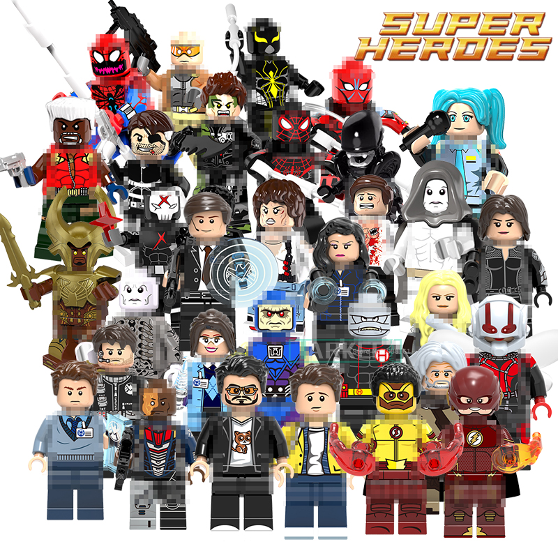 цены Building Blocks Iron Man Tony Figures Wally West Ultimate Spider-Man Mark 2 Nick Fury G. W. Bridge Superhero Kids DIY Toy Bricks