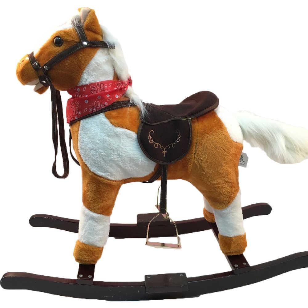 Cavalos de Balanço De pelúcia Brinquedos para 3-8 Anos de Idade As Crianças Luz Marrom De Madeira Musical Trojan Cavalo Handmade Crianças Cavalo andar Em Brinquedos