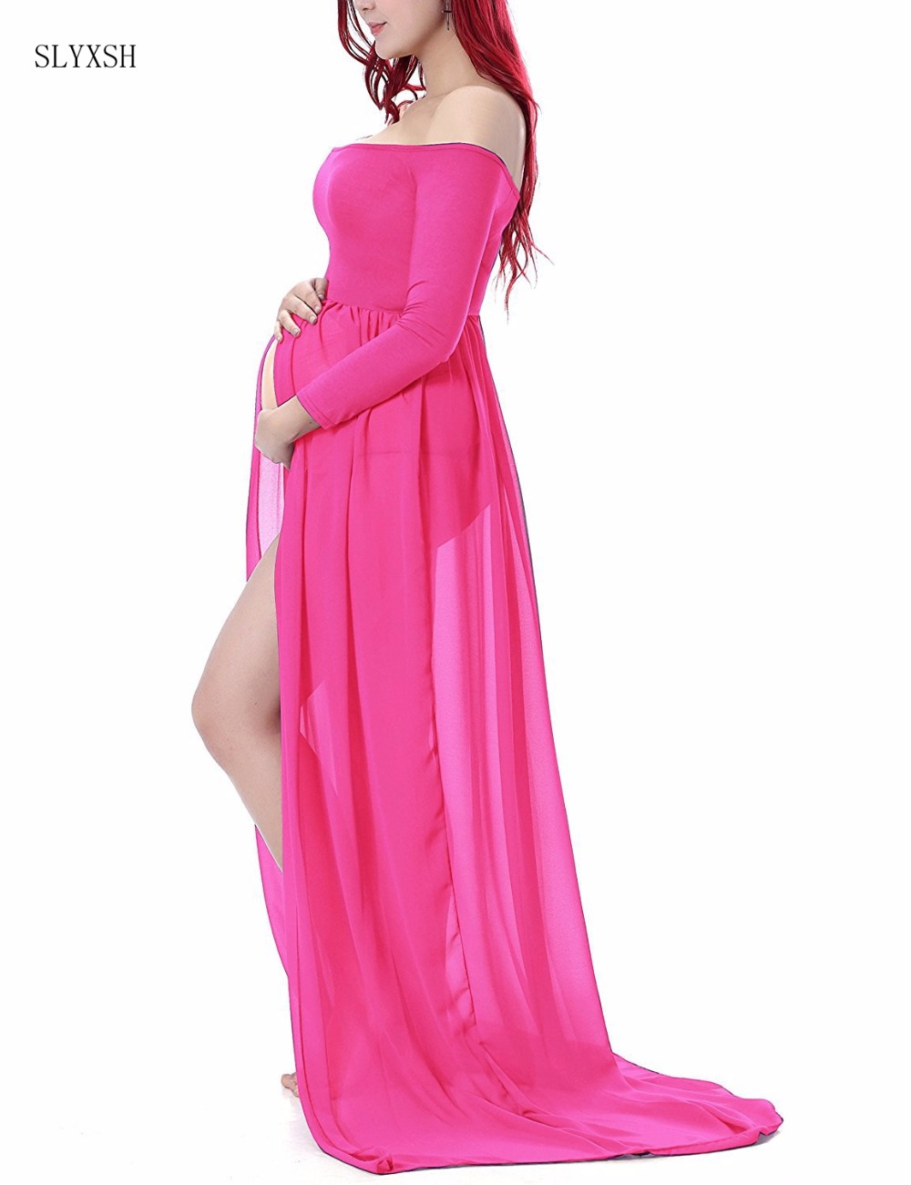 bb6466df8fe Fashion women dress Maternity Dresses For Photo red Dress Maternty  Photography Props Slong Sleeve Stretch Cotton Pregnant Dress