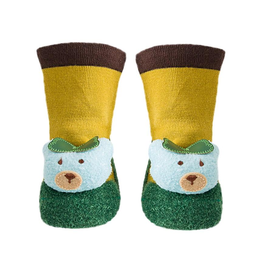 1Pair Cartoon Socks Floor Anti-Slip Socks Newborn Slipper Bell Shoes Boots Baby Girls Boys Sockings S~M Dropshipping 1218