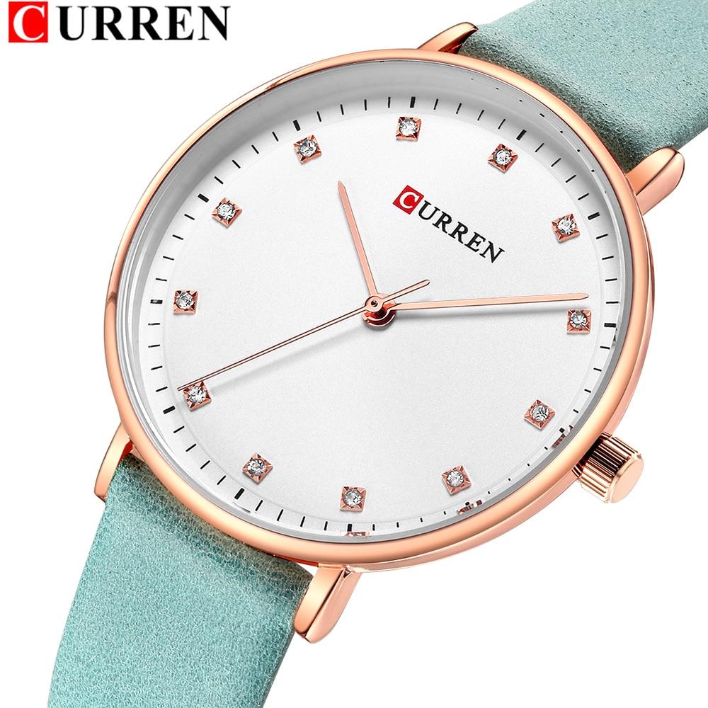 Womens Watches Slim Leather Quartz Watch For Women CURREN Ladies Diamond Wristwatch Female Clock Girls Gift Relogio Feminino