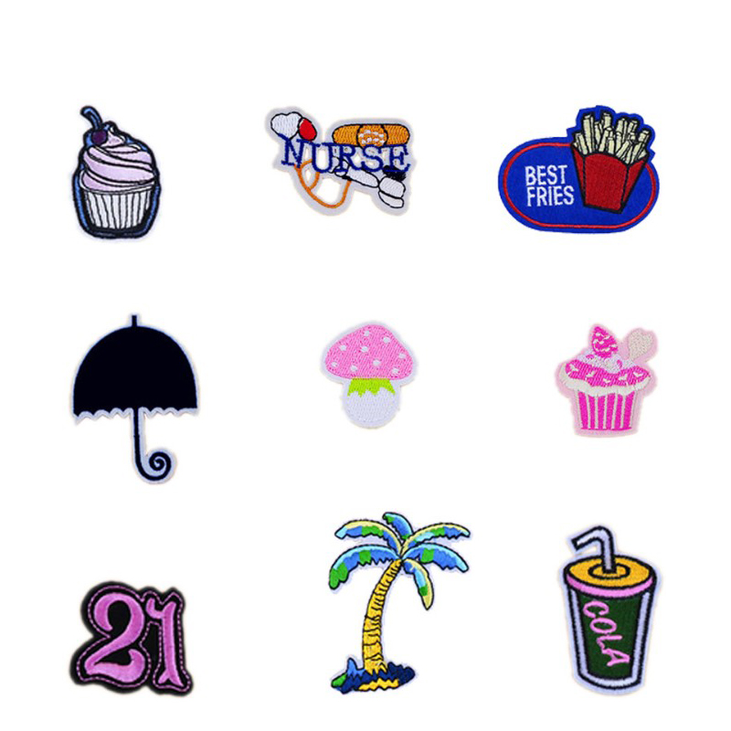 New Lovely Cake Fries Umbrella Drink NURSE Patches Iron On Or Sew Fabric Sticker For Clothes Badge Embroidered Appliques DIY