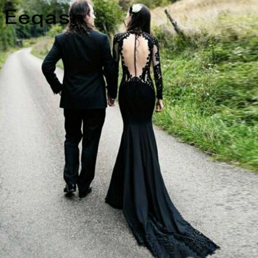 Gothic Black Long Sleeve Mermaid Wedding Dresses Backless Lace O Neck 2020 Sweep Train Bridal Gowns Robe De Mariee Aliexpress,Bridesmaid Dresses Beach Wedding