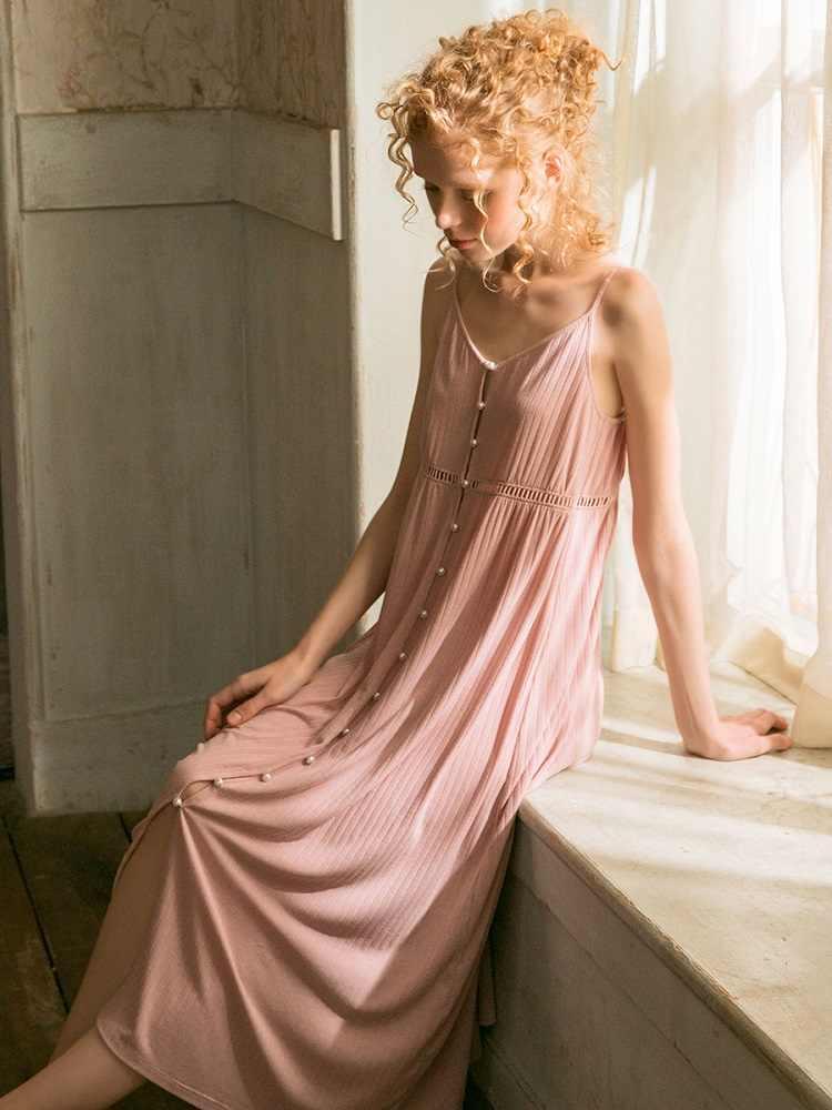 Baumwolle Lange Nachthemden Für Frauen Elegante Prinzessin Tiefe Rosa Nachtwäsche Strickjacke Lose Sexy Nacht Kleid
