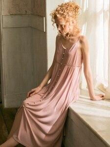 Image 5 - Cotton Dài Váy Ngủ Cho Nữ Thanh Lịch Công Chúa Sâu Hồng Đồ Ngủ Cardigan Rời Đầm