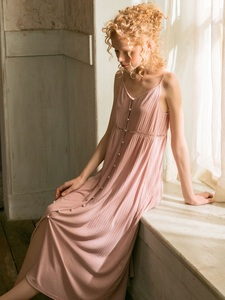 Image 5 - Cotton Long Nightgowns For Women Elegant Princess Deep Pink Sleepwear Cardigan Loose Sexy Night Dress