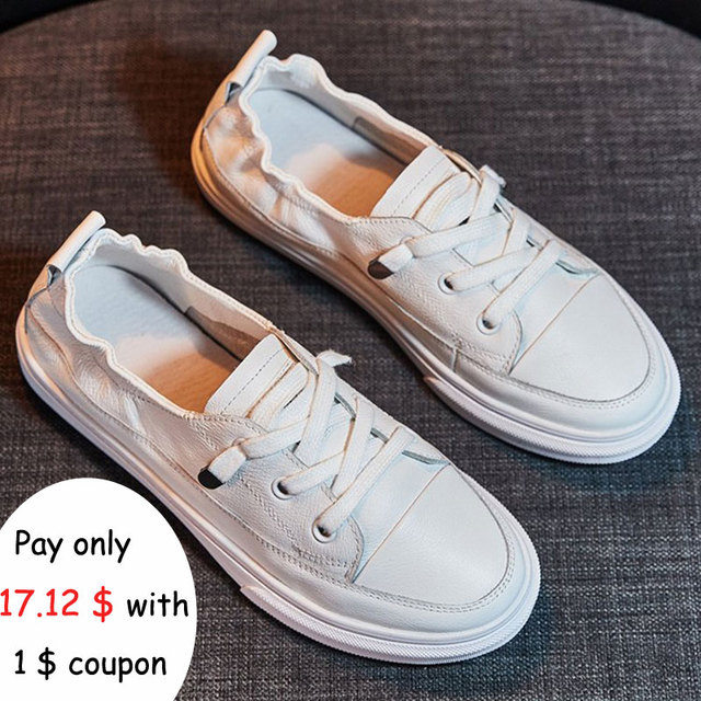 c8948cca77 2019 New Women Casual White Shoes Soft Leather Comfortable Shoes Women  Soild Spring And Autumn Solid