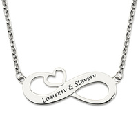 Wholesale Sterling Silver Engraved Infinity Heart Necklace Endless Love Necklace Eternity Charm Gift For Her