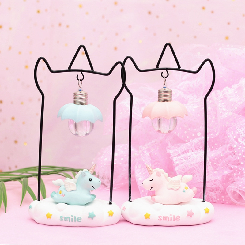 Cartoon Unicorn Resin LED Night Light Girls Room Decoration Lamp Bedside Lamp For Baby Kids Christmas New Year Birthday Gift (1)