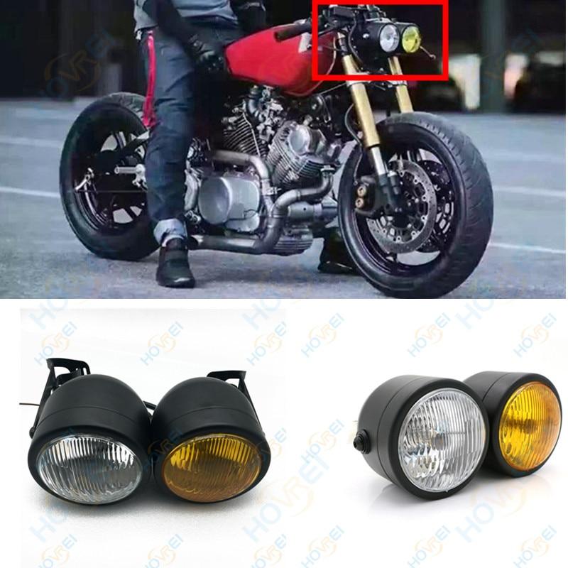 Twin Headlight Motorcycle Double Dual Lamp w/ 28 - 34mm