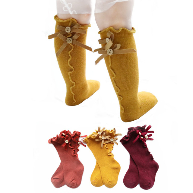 Cute Spring Autumn Girls Princess Breathable Socks Cotton Bowknot Toddler Baby Knee Long Sock Leg Warm 4Colors For 0-3 Years Old