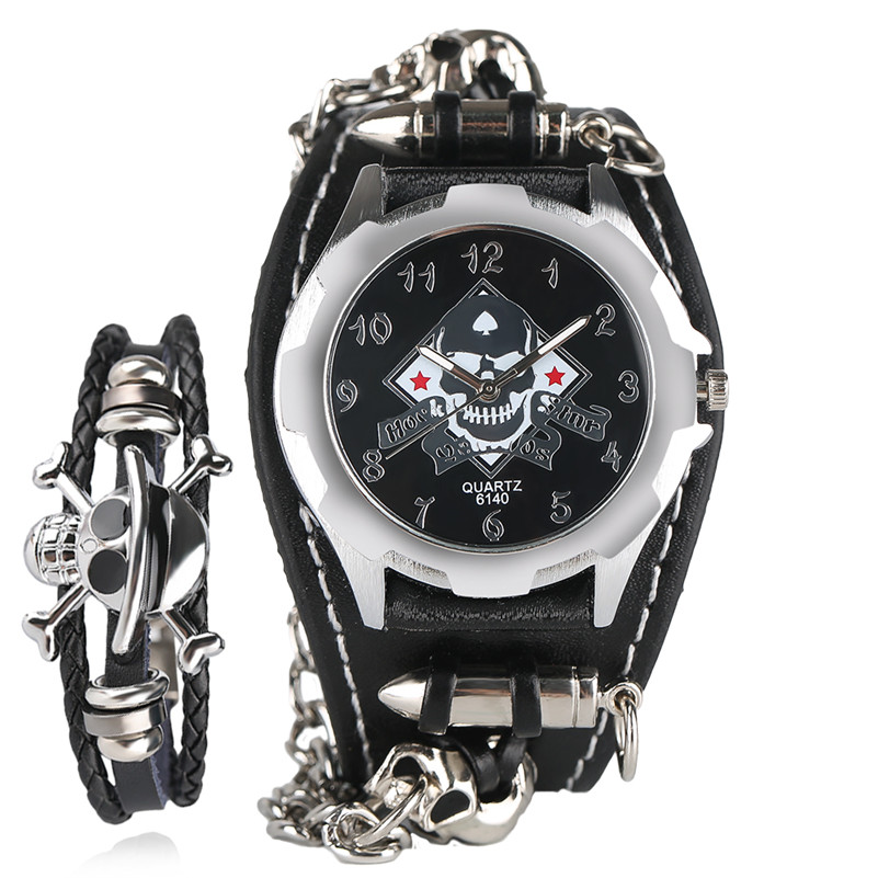 Skull Bullet Rock Quartz Watch Men Cool Accessories Steampunk Leather Bracelet Modern Special Design Analog Casual Watches Chain cool design multi layed chain bracelet for women