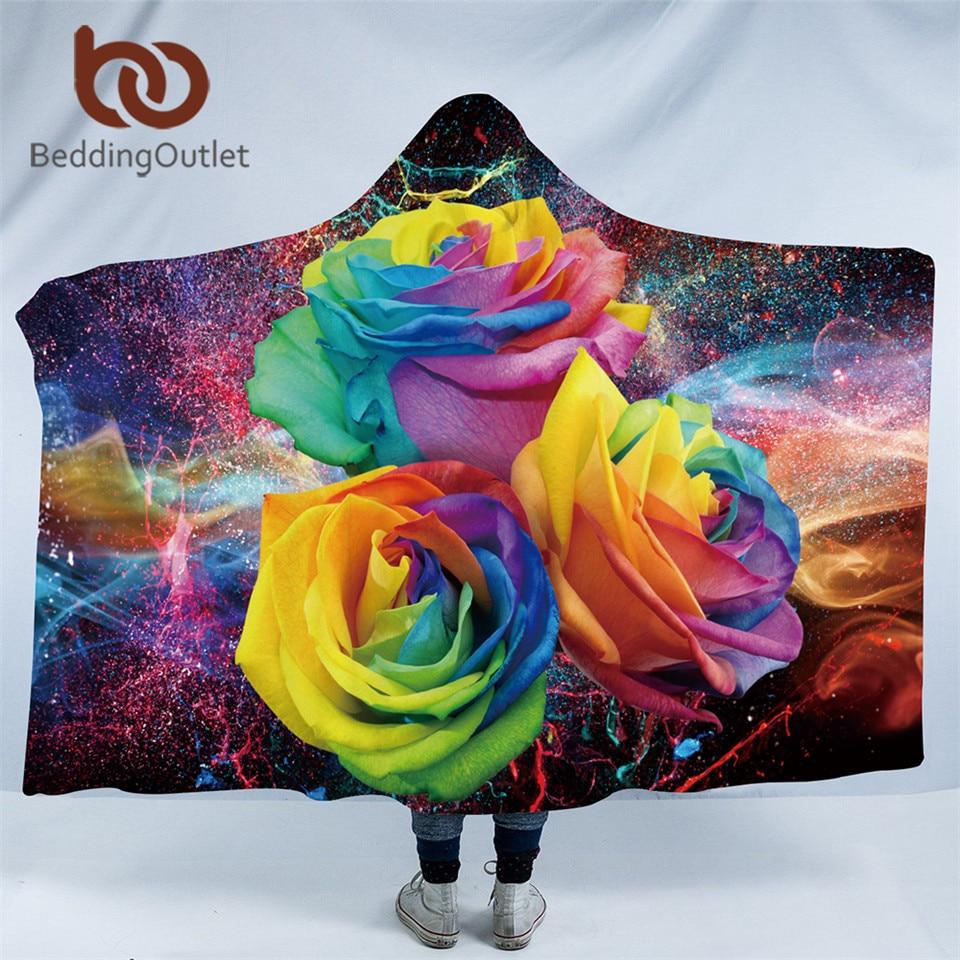 BeddingOutlet Colorful Roses Hooded Blanket for Woman 3D Printed Floral Sherpa Fleece Wearable Kids Throw Blanket Microfiber