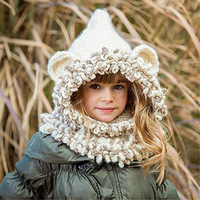 2PCs Autumn Winter Baby Knitted Crochet Hats Scarf Bear Ear Sets Toddler Kids Winter Scarf Hat